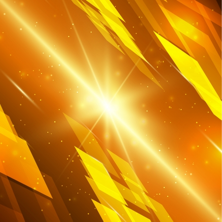 Abstract yellow technology background with bright flare