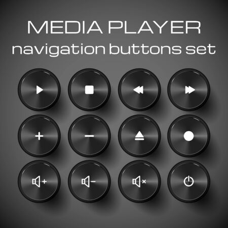 Set of media control buttons. Vector illustration.