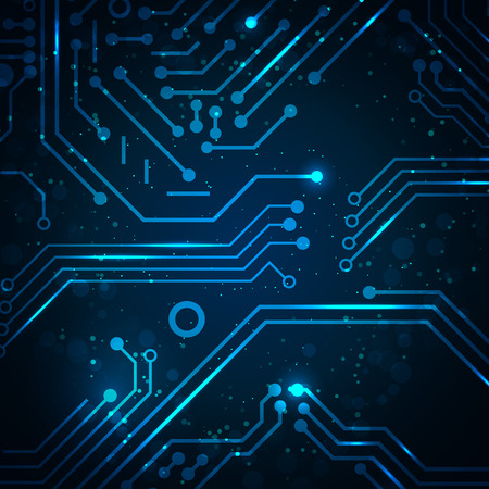 Technology background with circuit board elements. Vector illustration with space for your business text. Фото со стока - 26625715