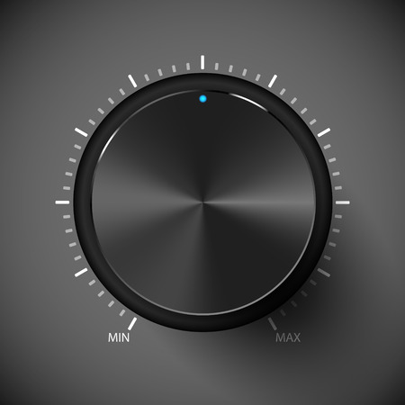 Black volume control button. Vector illustration. Metall texture.
