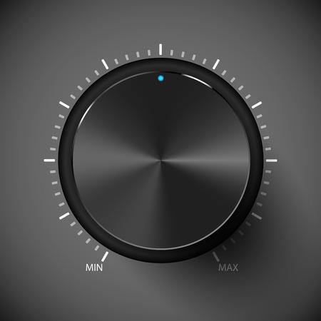 Black volume control button. Vector illustration. Metall texture.