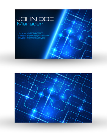 Business cards set with technology design. Vector illustration.