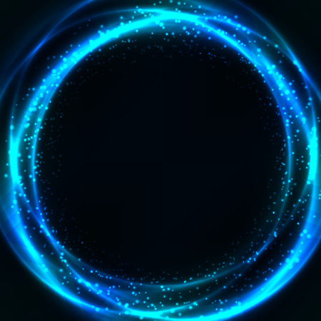 Abstract shining rings with glow and sparkles. Vector illustration with space for your text.