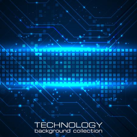 tecnología informatica: la tecnología de fondo con elementos de las placas de circuitos. Ilustración del vector para sus presentaciones. Vectores