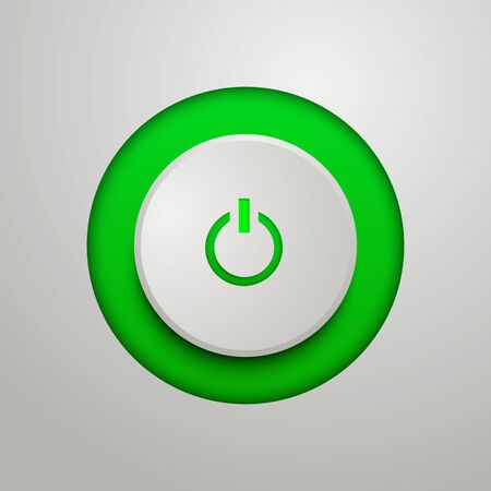 Green power button. Vector illustration for your design. Иллюстрация