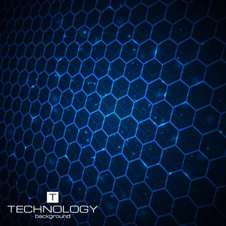 blue light background: Abstract technology background with honeycomb texture. Vector illustration. Illustration