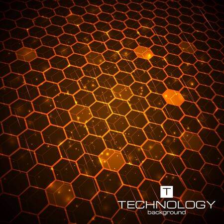 background orange: Abstract technology background with honeycomb texture. Vector illustration. Illustration