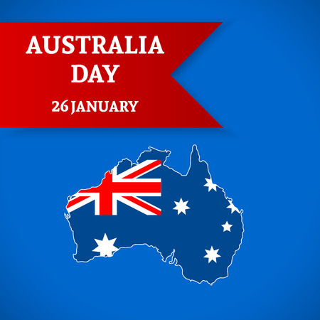 26th: Australia Day Background. National celebration card with flag and continent. Vector illustration.