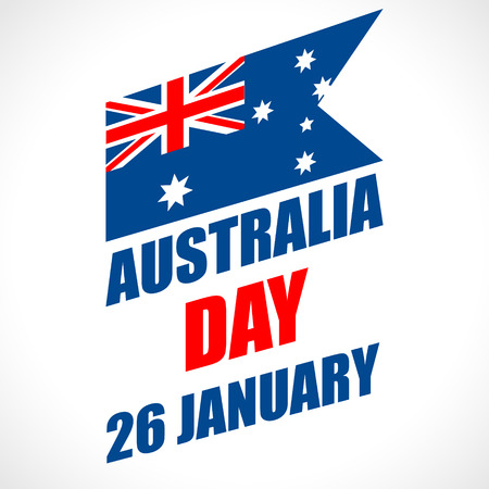 australia: Australia Day Background. National celebration card with flag and continent. Vector illustration.