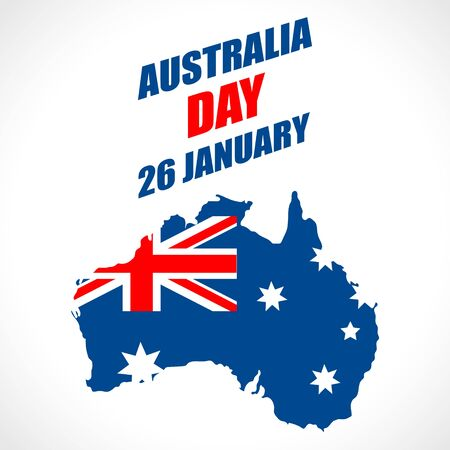 Australia Day Background. National celebration card with flag and continent. Vector illustration.