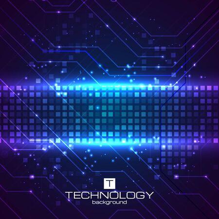 blue light background: Technology background with HUD elements. Vector illustration for your artwork.
