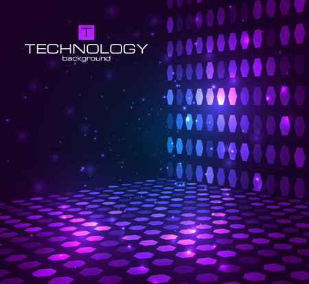 disco symbol: Abstract hexagonal background. Retro disco stage. Vector illustration for your banners,templates.