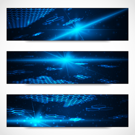 cyberspace: Set of bright digital banners for your design artwork. Vector illustration.