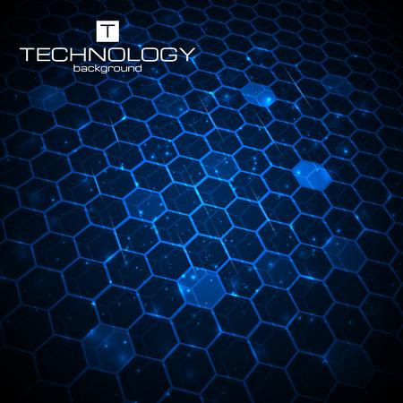 Abstrait arrière-plan technologique avec nid d'abeille texture. Vector illustration.