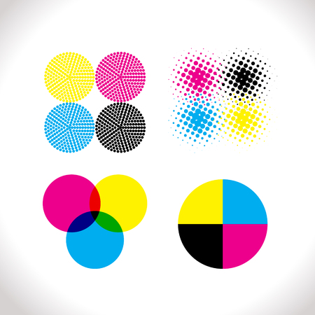 Set of CMYK illustrations. Vector halftone and others. Illustration