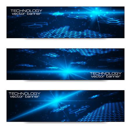 Set of bright digital banners for your design artwork. Vector illustration.