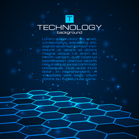 Abstract technology background with honeycomb texture. Vector illustration. Иллюстрация