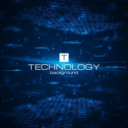 Futuristische digitale achtergrond met ruimte voor uw tekst. Technologie illustratie voor uw bedrijf, wetenschap, technologie kunstwerk. Vector design element. Vector Illustratie