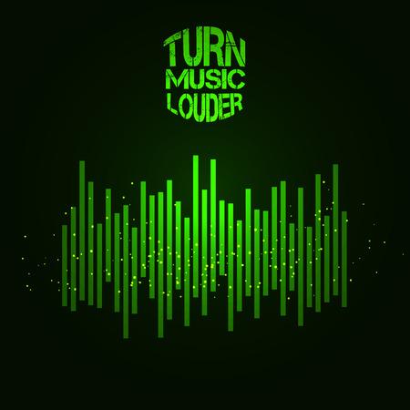 digital music: Equalizer icon. Can be used as logo to music album, dj set,concert banner. Vector illustration. Illustration