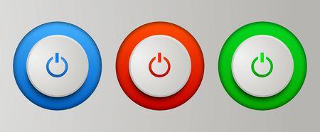 pc: Power buttons set. Vector illustration for your business artworks. Illustration