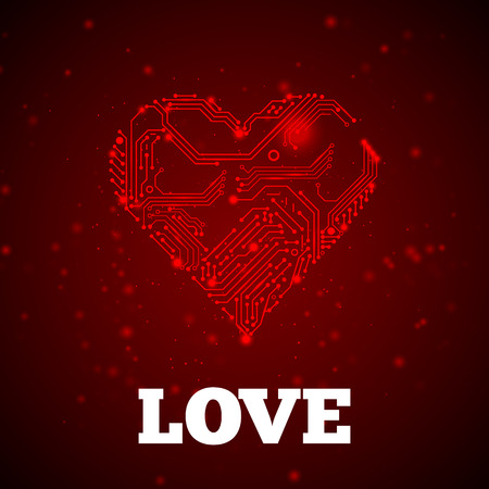Abstract red technology heart. Love symbol vector illustration.