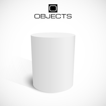 White 3d cylinder stand isolated on background. Platform or podium for your advertisement. Illustration
