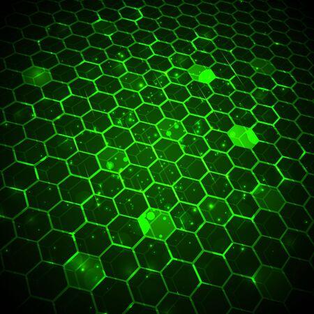 Abstract technology background, hexagonal template. Иллюстрация