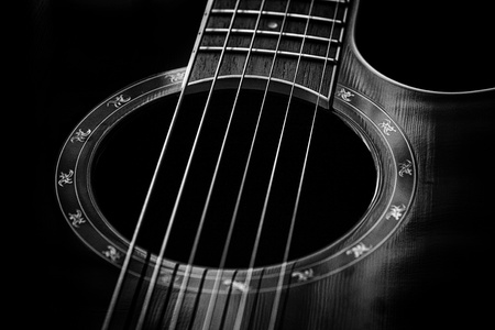 acoustic: Classical guitar closeup - includes strings, fingerboard and part of the body. Can be used as a nice background, album cover. Dark colors, contrast