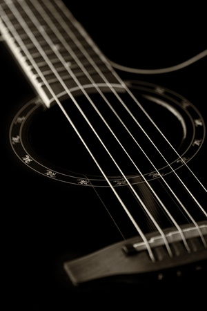 Classical guitar closeup - includes strings, fingerboard and part of the body. Can be used as a nice background, album cover. Dark colours, contrast photo