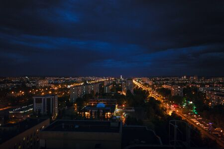 View of the Grand city from roofs of houses Stock Photo