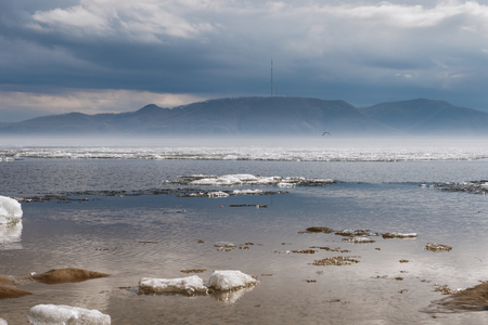 눈 덮인 해안에 안개 낀 가을 아침 스톡 콘텐츠 - 102250269