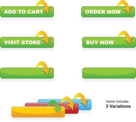 knopf: In den Warenkorb, Bestellen, Kaufen und Kn�pfe Shop besuchen Illustration