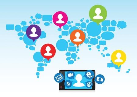 tweet icon: Mapa abstracto del mundo con medios de comunicaci�n social que se comparte desde un dispositivo m�vil con amigos de todo el mundo.