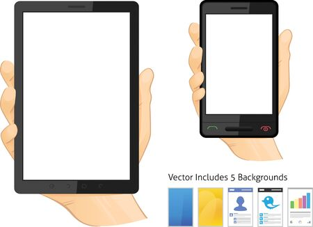 Hands Holding Touch Screen Tablet Computer