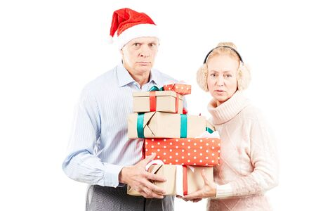 Portrait of cute senior couple celebrating Christmas Stock Photo