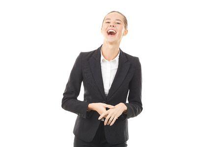 Portret van jonge emotionele zakenvrouw in formele pak op witte achtergrond Stockfoto