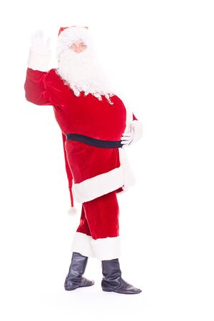 Portrait of Christmas character Santa Claus in traditional costume on white background