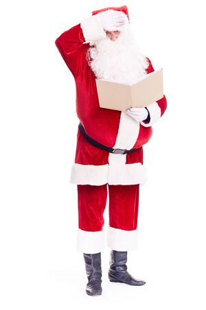 Christmas character Santa Claus holding book with blank cover