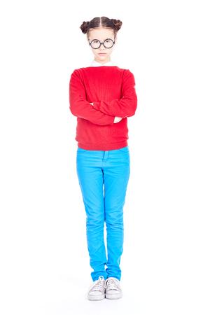 Isolated portrait of Asian schoolgirl wearing nerd eyeglasses Stock Photo