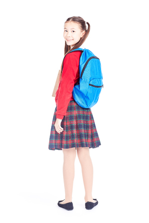 Portrait of beautiful Asian female student wearing school uniform and blue backpack Stock Photo