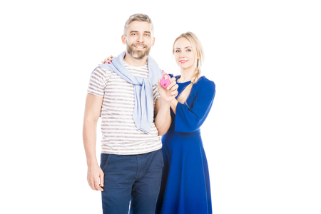 Portrait of lovely couple with lock on white background Фото со стока