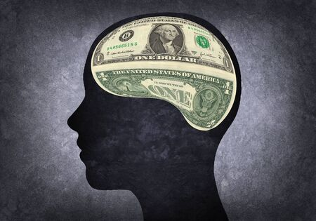 materialistic: Silhouette of human head with brain materialistic
