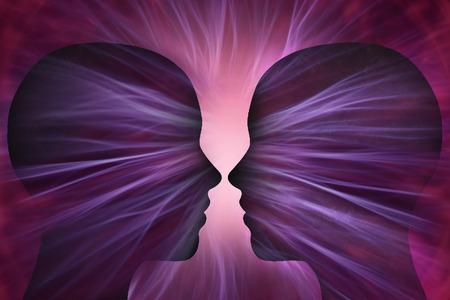 human energy: Human head with energy beams