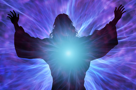 religious backgrounds: Silhouette of Jesus with rays of light