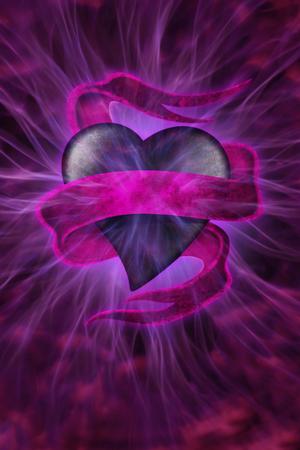 high spirits: Heart with energy beams Stock Photo