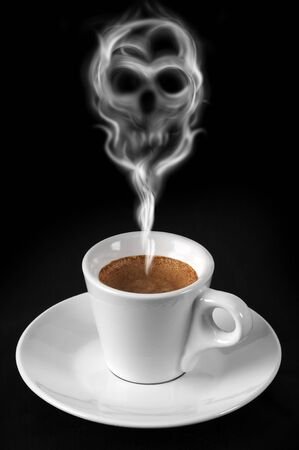 toxic: Cup of coffee with smoke drawing a skull Stock Photo