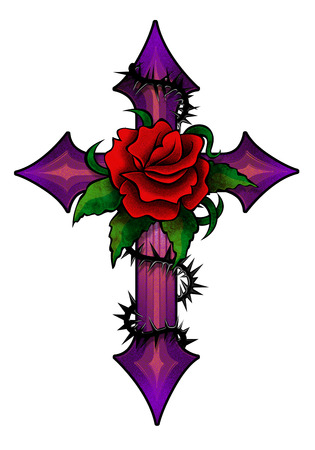 christianity: Cross with flowers Stock Photo