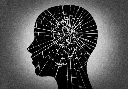 Silhouette head like broken glass