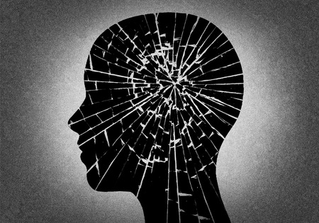 Silueta de la cabeza como el vidrio roto