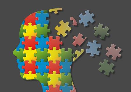 분열의 뇌 부분과 퍼즐 머리